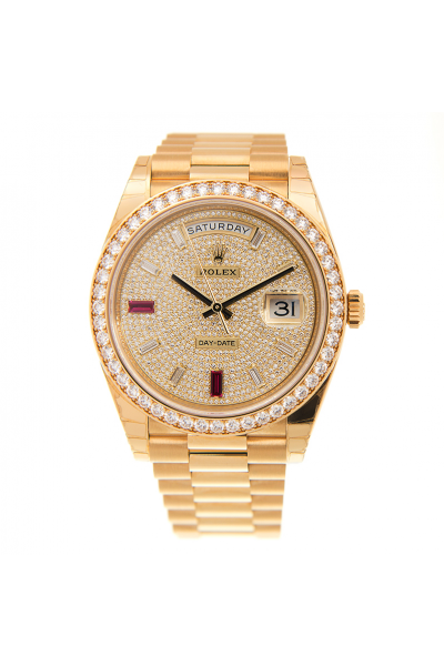New Rolex Day-date 36MM Colorful Baton Crystal Index Diamonds Paved Face/Bezel Yellow Gold Plated Watch For Ladies Replica