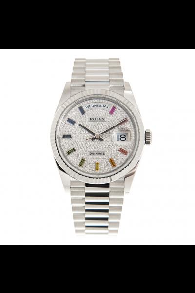 Latest Rolex Day-date 36MM Fluted Bezel Multicolor Baton Crystal Index President Bracelet Female White Gold Diamonds Watch 128239