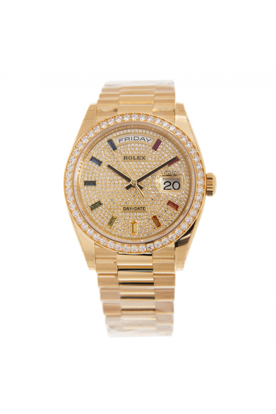 Best Rolex Day-date 18K Yellow Gold 36MM Case Multicolor Crystal Index Women Diamonds Watch For Sale 128238
