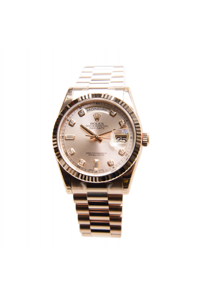 Best Price Rolex Day-date 36 Diamonds Index Fluted Bezel Champagne Dial Female Rose Gold Gift Watch