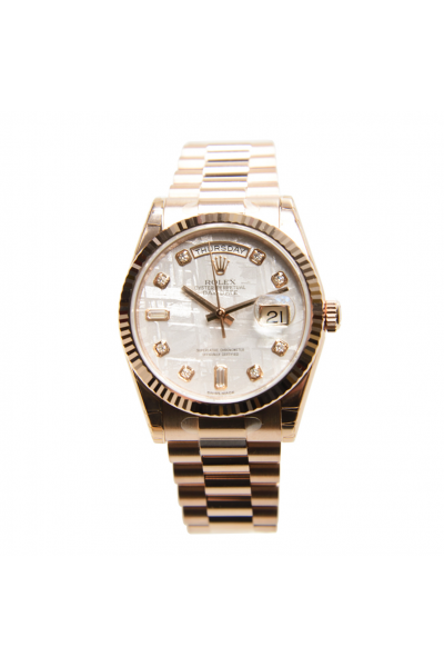Latest Rolex Day-date 36mm White MOP Dial Diamonds Markers President Bracelet Womens Rose Gold Fake Watch