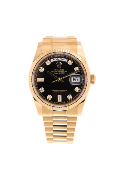 2021 Fashion Rolex Day-date 36MM Black Dial Diamonds Markers Fluted Bezel Yellow Gold Plated Watch For Ladies