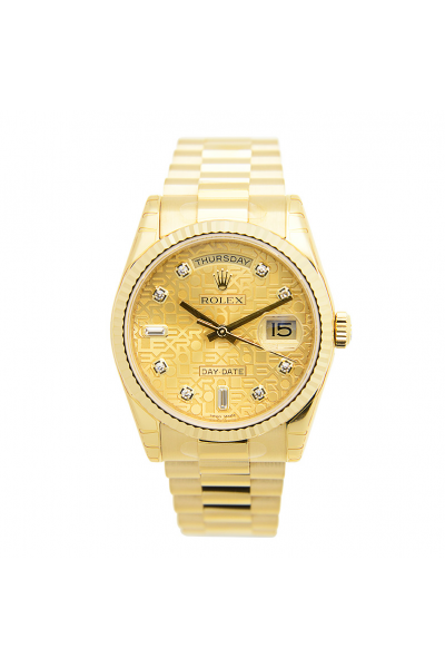 2021 Rolex Day-date 36MM  Logo Embossed Dial Diamonds Index Women President Bracelet All-Set Yellow Gold Watch