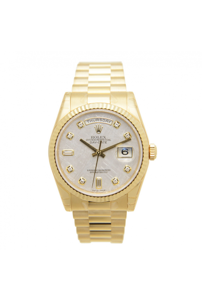 Spring Fashion Rolex Day-date 36MM White MOP Dial Diamonds Markers Female Yellow Gold Plated Automatic Watch