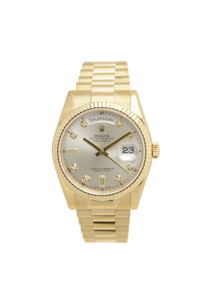 2021 Simple Rolex Day-date Silver Face Diamond Markers Roman Pattern Index Women Yellow Gold Watch Replica