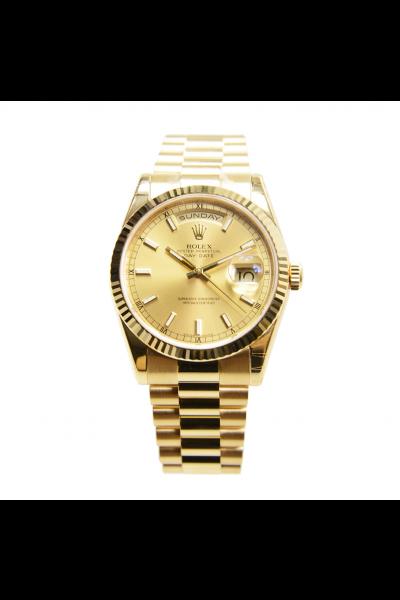 Best Rolex Day-date 36MM Fluted Bezel Luminous Baton & Roman Markers Women All Yellow Gold Plated Fake Watch