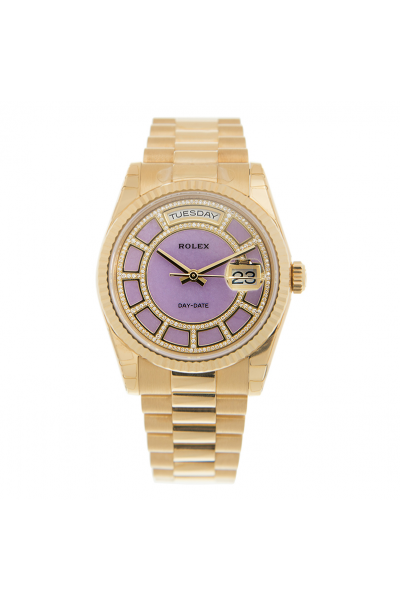 Latest Rolex Day-date 18k Yellow Gold Diamonds & Double Ring Motif Purple Face Stick Index Watch For Ladies