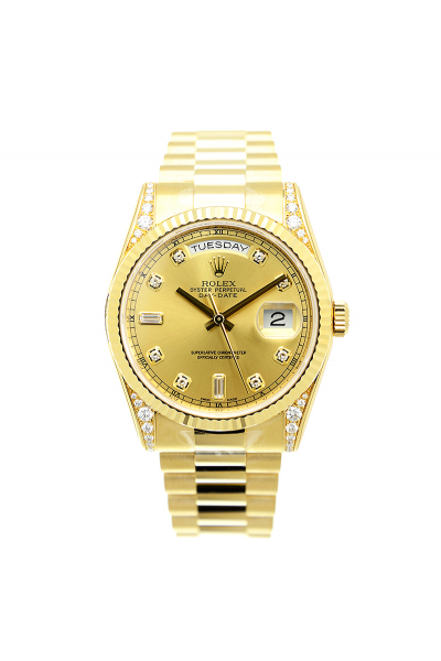 High Quality Rolex Day-date 36MM Diamonds Markers & Lug Fluted Bezel All-set Yellow Gold Plated Watch For Women