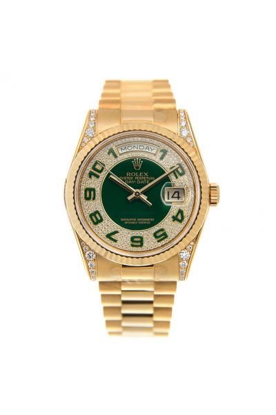 Top Sale Rolex Day-date 36 Yellow Gold Steel Green Arabic Index Diamonds Dial & Lug Women Automatic Watch
