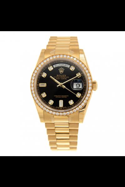 Unisex Classic Rolex Day-date 36 Black Face Roman Pattern Motif Diamonds Markers Yellow Gold Watch Replica