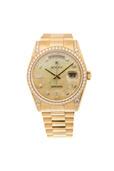 Women's Fashion Rolex Day-date Logo Embossed Dial Diamonds Markers/Bezel/Lug Yellow Gold Automatic Watch Replica
