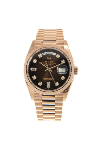 Replica High Quality Day-date 36 Rose Gold Fluted Bezel Brown Dial Women Diamonds Watch For Sale Online 128235