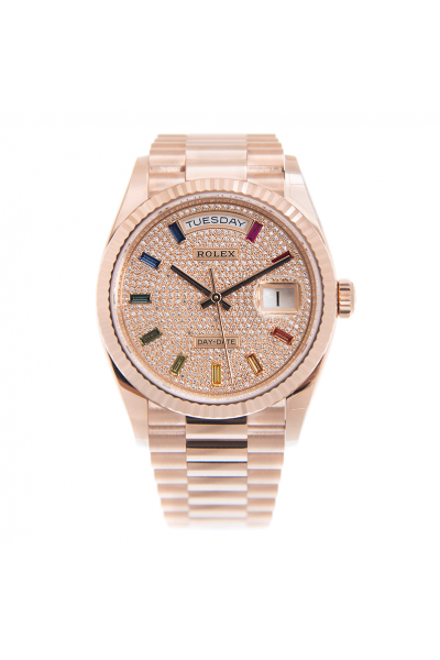 2021 New  Rolex Day-date 36MM Full-set Diamonds Diamonds Colorful Crystal Baton Markers Female Rose Gold Watch
