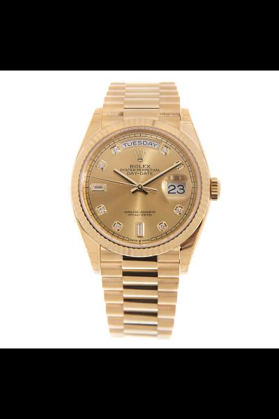 Top Sale Rolex Day-date Diamonds Index Fluted Bezel Ladies Yellow Gold President Bracelet Oyster Steel Watch