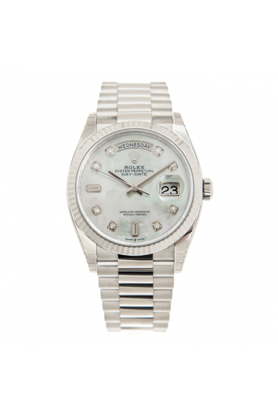 Rolex Day-date 36MM High End White MOP Dial Diamonds Markers Stainless Steel Fluted Bezel Fake Watch