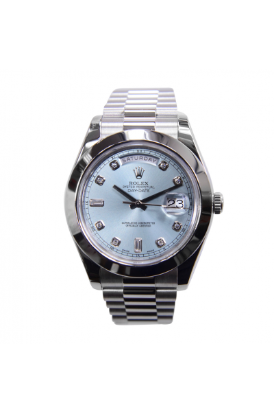 High Quality Rolex Day-date 36MM Luxury Diamonds Markers Light Blue Dial Women White Gold Automatic Watch
