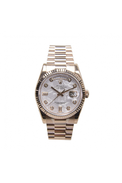 Best Quality Rolex Day-date White Dial Diamonds Markers Classic Fluted Bezel Rose Gold President Watch For Ladies