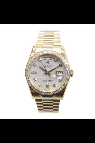 Women's Classic Rolex Day-date 36MM White Meteorites Dial Diamonds Bezel & Hour Markers 18K Yellow Gold Watch