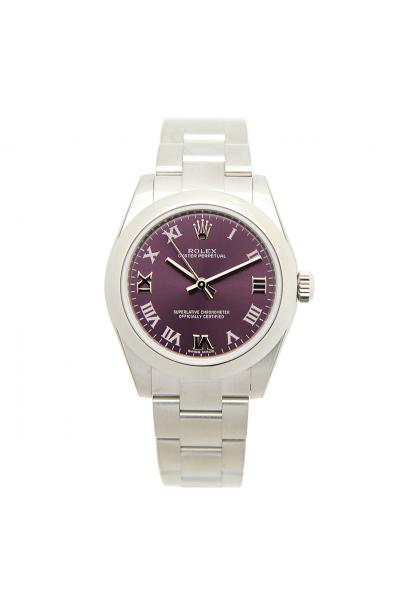 2021 New Rolex Oyster Perpetual 31 Purple Dial Vintage Roman Markers Female Stainless Steel Fake Automatic Watch