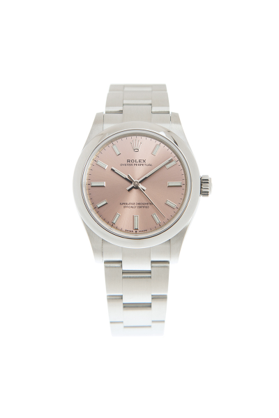Best Quality Rolex Oyster Perpetual Pink Face Domed Bezel Female White Gold Luminous Baton Markers 31MM Watch Replica