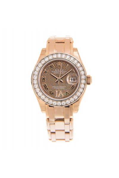Best Price Rolex Datejust 29MM Flower Pattern Brown Dial Diamonds Bezel Rose Gold Automatic Watch For Ladies
