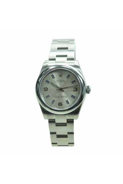 Rolex Simple Design Oyster Perpetual Domed Bezek Blue Stick & Arabic Scales Silver Stainless Steel Watch For Ladies