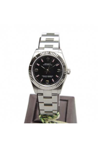 High Quality Rolex Oyster Perpetual Black Face Pink Baton Index Female Fluted Bezel SS Watch 31MM Replica