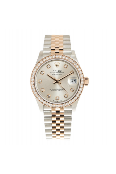 2021 New Rolex Datejust 36MM Female Automatic White MOP Dial Diamonds Markers & Bezel Rose Gold Two-tone Jubilee Watch 126283RBR