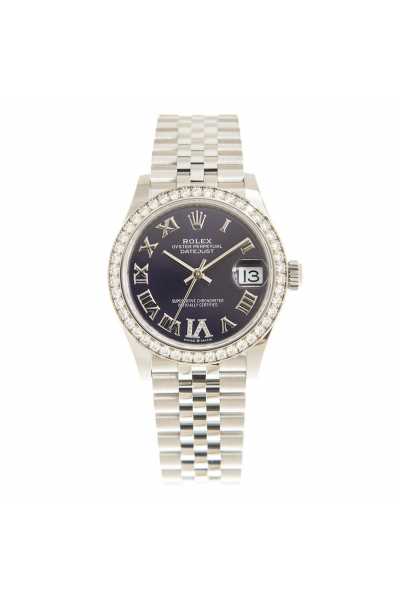 Rolex Datejust 31 Classic Stainless Steel Purple Face Roman Markers 31MM Automatic Diamonds Watch For Ladies 278384RBR