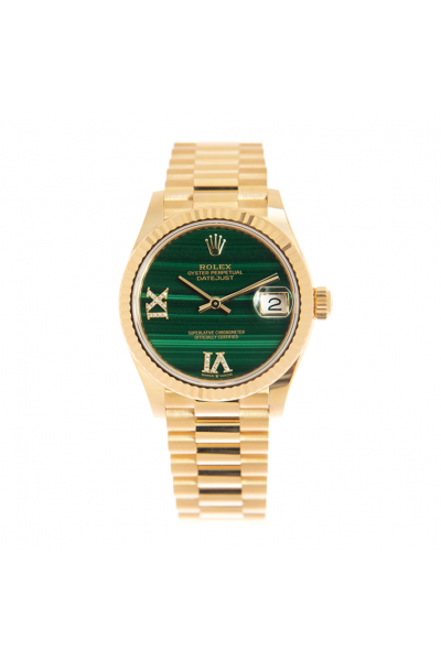 Fashion Rolex Datejust Fluted Bezel Diamonds Motif VI IX Markers Lady Emerald Green Dial All Yellow Gold Automatic Watch Replica