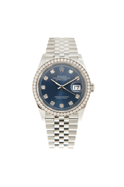Best Selling Rolex Datejust 36MM Bright Blue Face Diamonds Index & Bezel Unisex Jubilee Stainless Steel Watch 126284RBR
