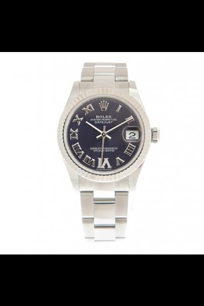 Replica Fashion Rolex Datejust 31MM 278274 Dark Purple Dial Diamonds Set Roman Index Stainless Steel Oyster Watch For Ladies