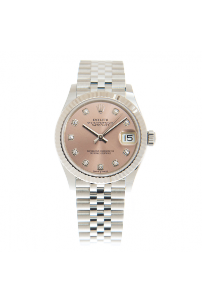 2021 High End Rolex Datejust 31 Pink Dial Fluted Bezel Stainless Steel Jubilee Bracelet Female Diamonds Markers Automatic Watch