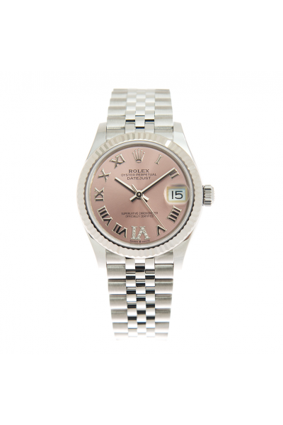 Sweet Style Rolex Datejust 31 Diamonds Set Roman Index Pink Dial Lady Fluted Bezel Stainless Steel Watch 278274