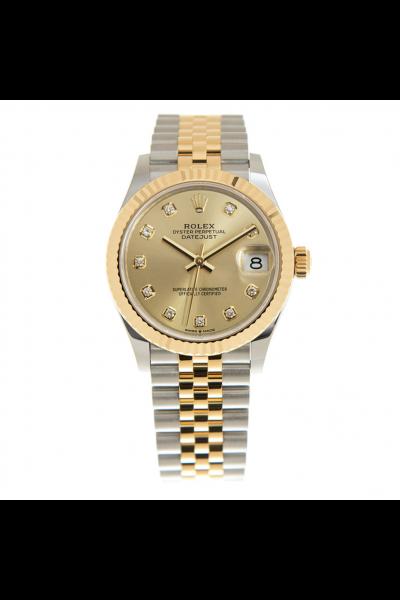 Women's Best Rolex Datejust 31 Yellow Gold Dial & Fluted Bezel Two-tone Jubilee Bracelet Automatic Diamonds Watch 278273
