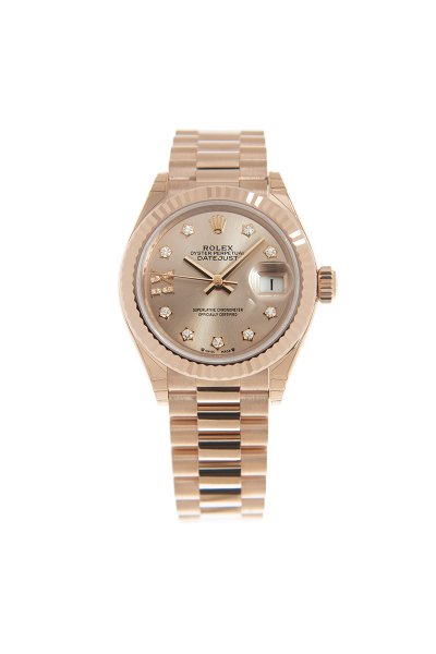 Low Price Rolex Datejust 28MM Diamonds Set Roman & Star Markers Fluted Bezel Female All Rose Gold Automatic Watch 279175