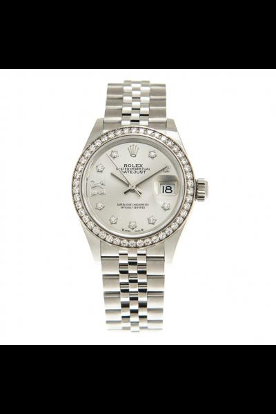 Hot Selling Rolex Datejust 28 Star Motif Diamonds Markers & Bezel Women All Stainless Steel Jubilee Watch 279384RBR
