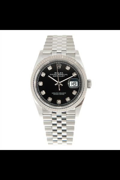 2021 New Rolex Datejust 36MM Black Dial Fluted Bezel Women Diamonds Markers Stainless Steel Jubilee Watch 126234