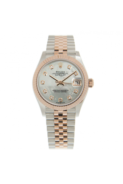 Good Quality Rolex Datejust Rose Gold Fluted Bezel White MOP Face Two-tone Jubilee Bracelet Female 31MM Automatic Watch 278271