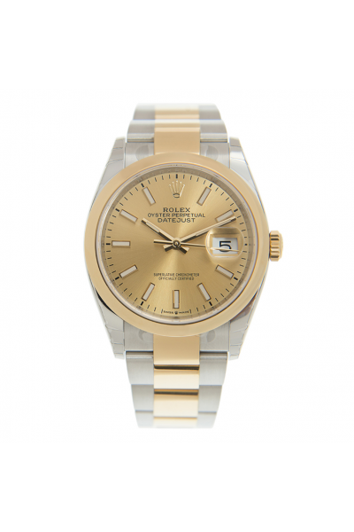 Hot Selling Rolex Datejust 36MM Yellow Gold Dial Luminous Baton Index Female Oyster Bracelet Two-tone Watch 126203