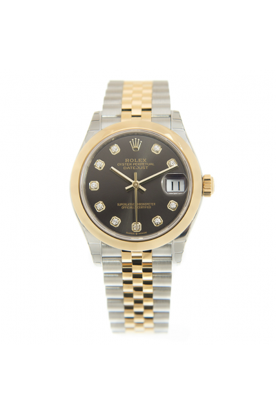 Best Rolex Datejust Dark Grey Dial Diamonds Markers Yellow Gold Domed Bezel Two-tone Jubilee Watch For Ladies 278243
