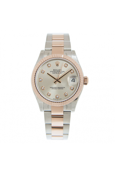 Classic Design Rolex Datejust 31 Rose Gold Fluted Bezel Two-tone Oyster Bracelet Female Automatic Diamonds Index Watch 278271