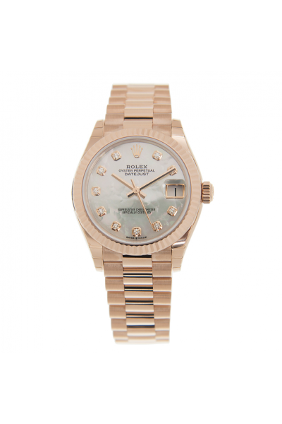 Replica Fashion Rolex Datejust 31 White MOP Dial Diamonds Index Women Fluted Bezel All Rose Gold Automatic Watch 278275