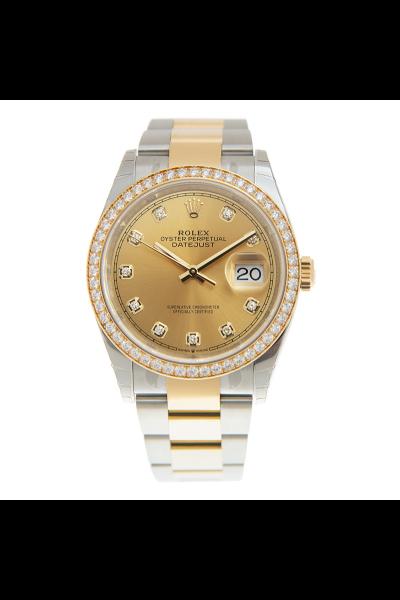 Best Price Rolex 36 Datejust Champagne Dial Diamonds Markers & Bezel Two-tone Oyster Bracelet Watch For Men & Women 126283RBR