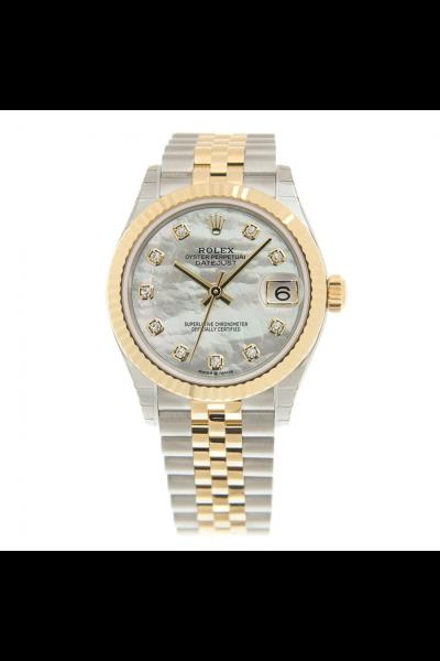 New Rolex Datejust 31 White MOP Dial Diamonds Markers Women Yellow Gold Fluted Bezel Two-tone Jubilee Watch 278273