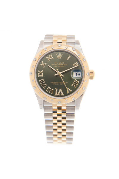 Cheapest Rolex Datejust 24 Diamonds Bezel Roman Markers Women Olive Green Dial Two-tone Watch 278343RBR Yellow Gold