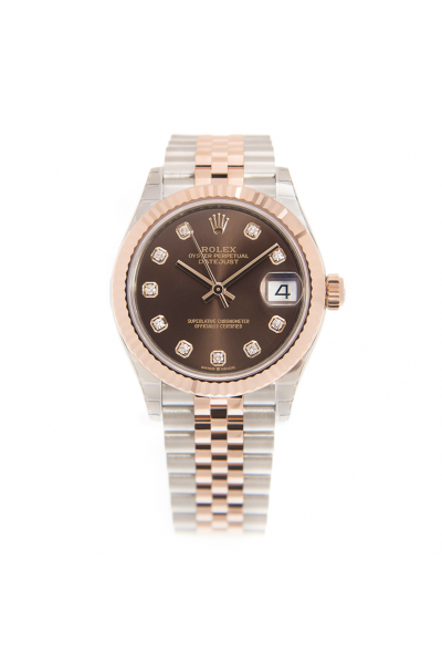 2021 New Rolex Datejust Rose Gold Fluted Bezel Two-tone Jubilee Bracelet Women DiamondsMarkers Brown Dial Watch 31MM