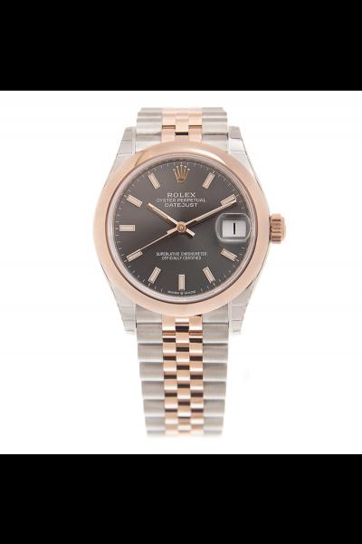 2021 Rolex Datejust 31 Slate Dial 18K Rose Gold & Stainless Steel Jubilee Bracelet Women Baton Markers Luminous Watch 278241