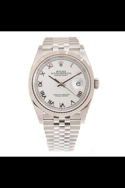Vogue Rolex Datejust Roman Index White Dial Fluted Bezel Stainless Steel 36mm Watch For Men & Women 126234