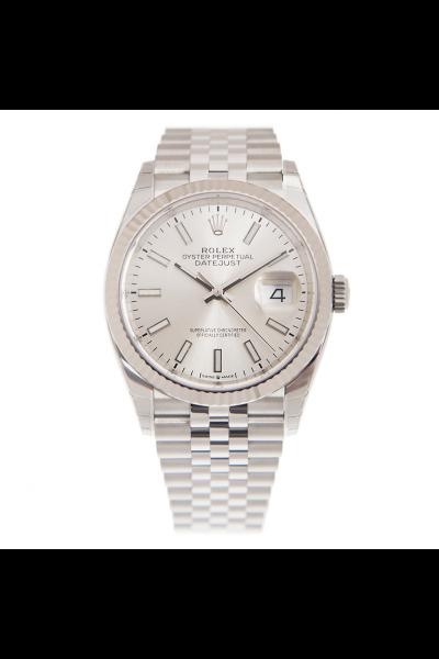 Rolex Simple Style Datejust 36MM Luminous Sticks Index Fluted Bezel Unisex Silver Stainless Steel Luminous Watch  126234